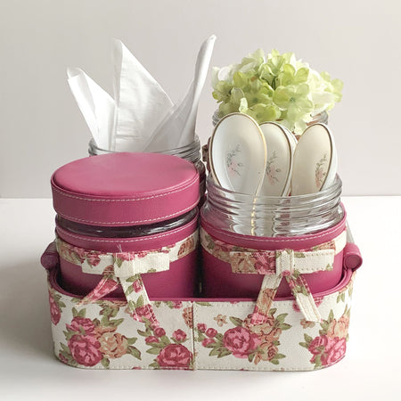 Nestasia Set of 4 Jars and Tray with handle - Pink with Floral white old rose ribbon, bows - PU Leatherite - for gifts home Office - Four Glass cannister food safe green combination motif