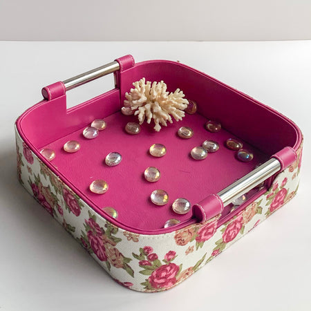 GLAM Jars and Tray Set - Pink with Floral White Old Rose