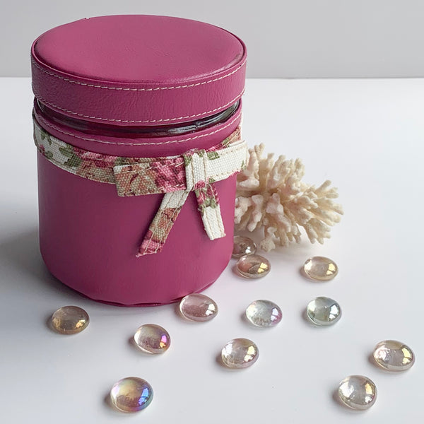 Set of 4 Jars and Tray with Handle - Pink with Floral White Old Rose Ribbon, Bows - PU Leatherite - for Gifts Home Office - Four Glass Canister food Safe Green Combination Motif