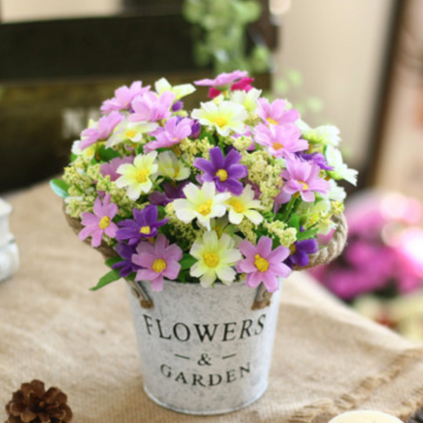 Purple Flowers in Basket