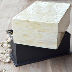 Mother Of Pearl Rectangle Box- Pearl White
