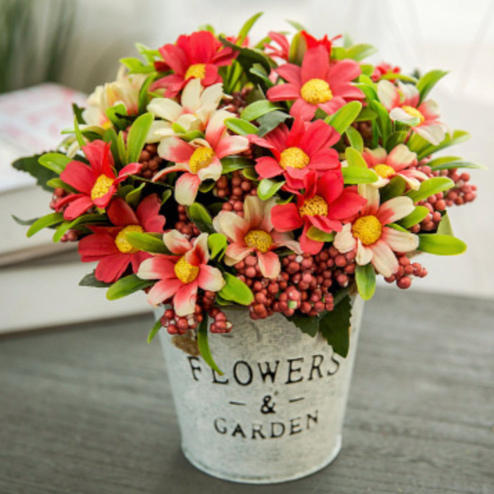 Red Flowers in Basket
