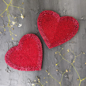 BEADS Heart Coaster - Red (Set of 2)