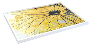 Lotus Gold Rectangle Lacquer Tray (Large)