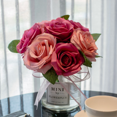Artificial Dark Pink Roses in Vase