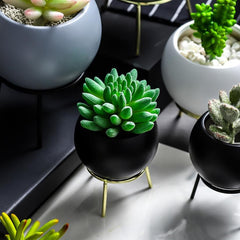 Round Planter With Stand Gold Black
