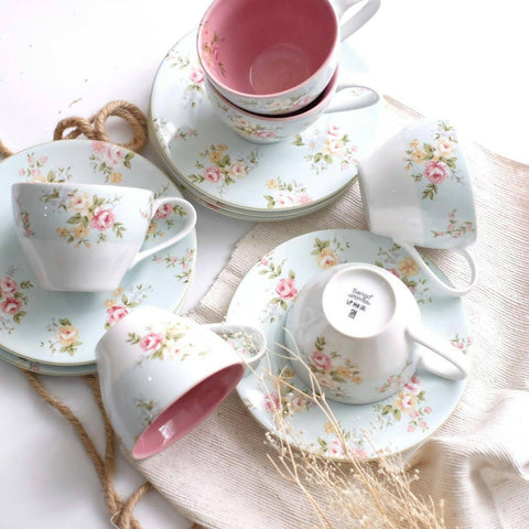 cup and saucer set of 6 with blue base and floral print
