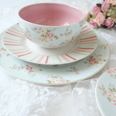 dinner set of 16 with blue base and rose print
