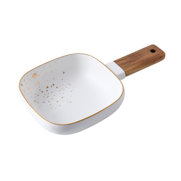 CARA bowl with wooden handle - classic white