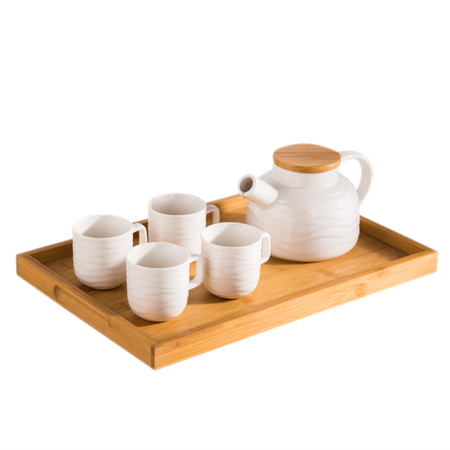 MAGNIFIQUE waves tea pot set with 4 cups