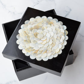 SHELL Mother of Pearl on black lacquer box