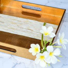 Square Lacquer Tray With Mother Of Pearl - Copper Gold