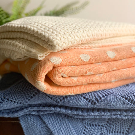 Dottie Knitted Throw Blanket - Creamy Orange Natural