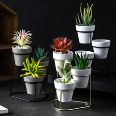 Planter Set of 3 Grey Gold