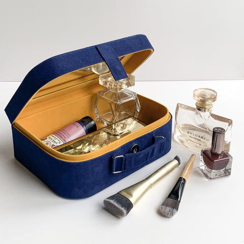 Nestasia Travel Jewellery Vanity Box Case - With mirror - Navy Blue Suede and yellow inside for Gifts Storage