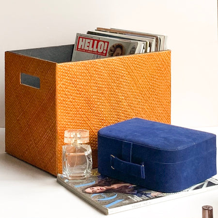 MARSHAL Woven Basket Magazine Organiser - Orange