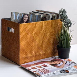 Nestasia Orange woven PU Leatherite Basket Magazine Organizer for living room Gift Hampers Storage