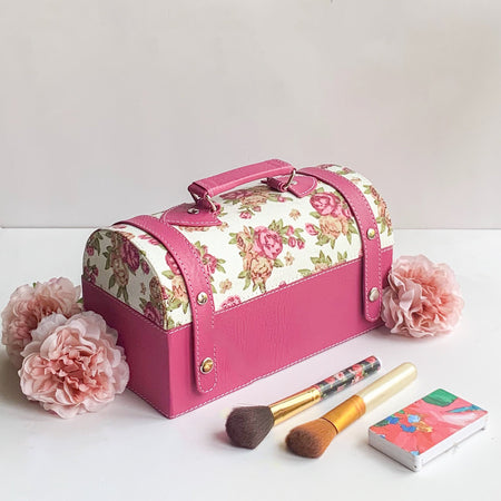 Nestasia Travel Jewellery Vanity Box - Trunk case - With mirror - Floral pattern - Pink Magenta - PU Leatherite