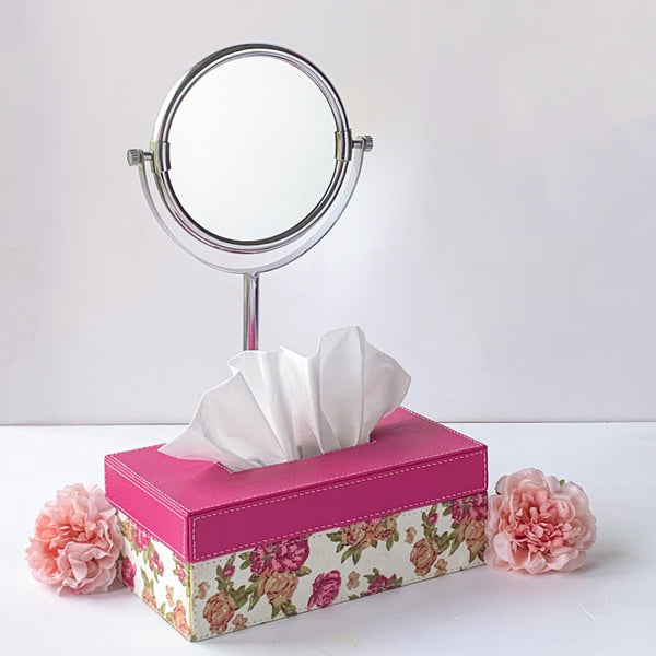Nestasia Pink Floral Tissue Box in PU Leatherite for gifting home office car