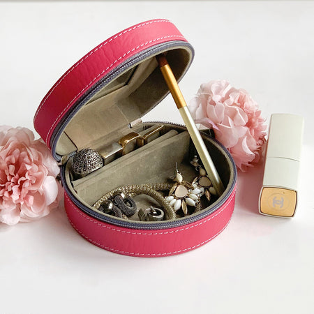Nestasia Round Zip Case - Organiser box for Travel Jewellery Vanity - grey pink magenta combination with mirror - PU Leatherite