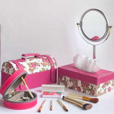 Tissue Box in Pink Floral PU Leatherite for Gifting Home Office Car