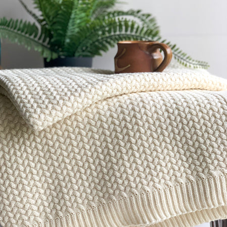 Snow Cable Knitted Throw Blanket -  100% Cotton - Ivory White