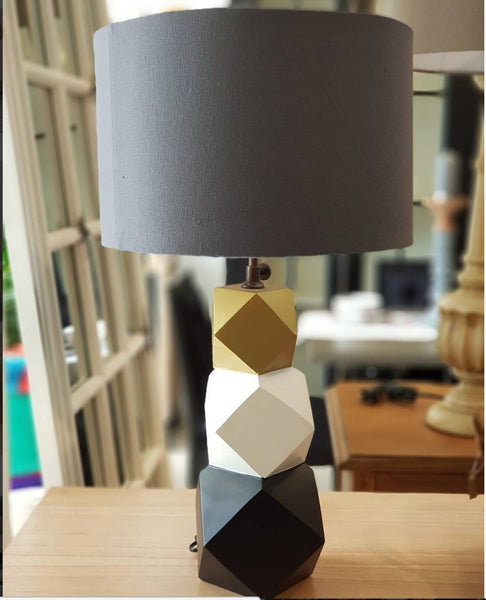 JOLIE Geometric Wooden Lamp with Grey Lampshade