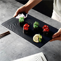 black serving plate texture small