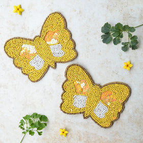 BEADS Butterfly Coaster - Yellow (Set of 2)