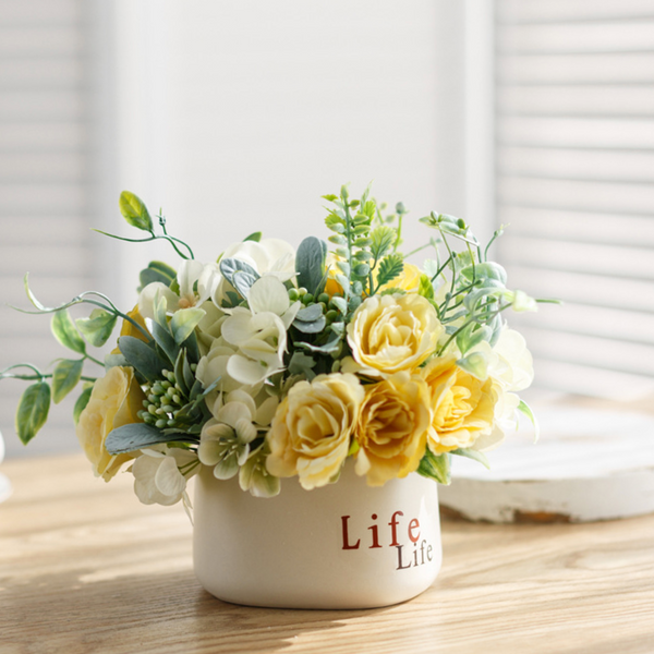 Yellow Flower Bouquet Vase