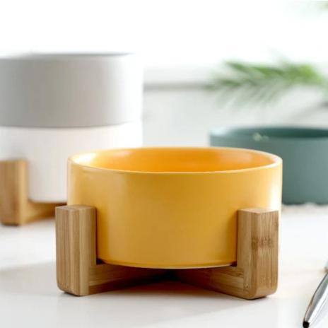 MERRY Bowl with wooden stand - Yellow - Nestasia Home Decor