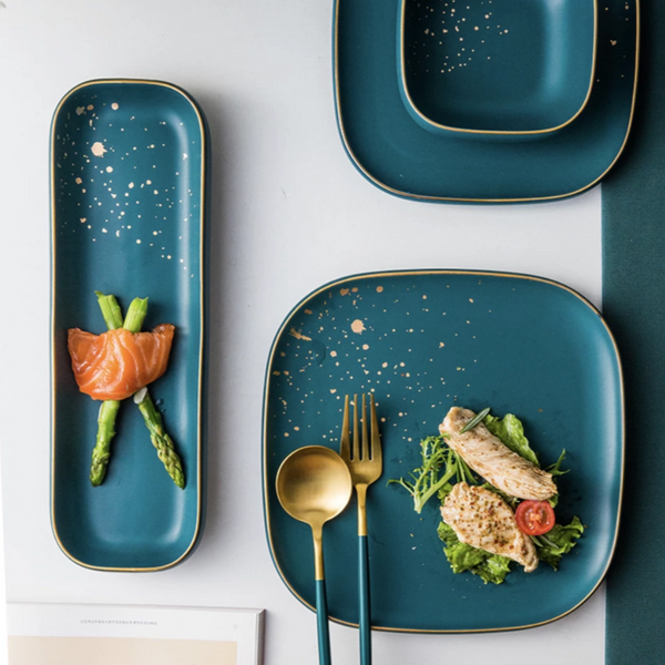 CARA long plate - midnight green - Nestasia Home Decor