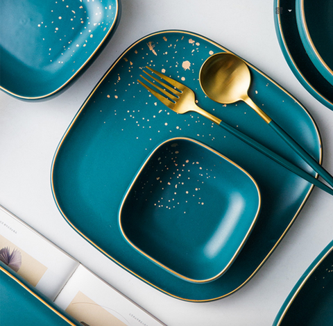 CARA square dinner plate - midnight green