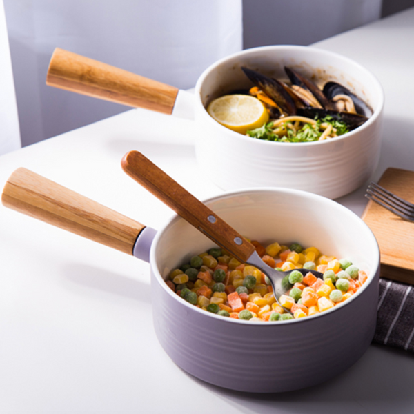 Food Items in Soup Bowl with Handle