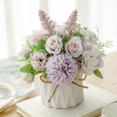 Artificial Flowers in Vase Light Purple