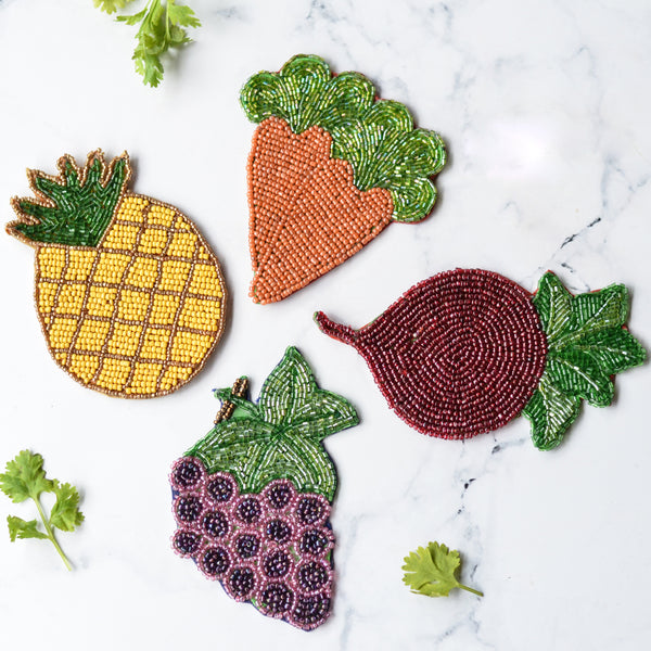 Beads Fruits & Vegetables Coaster Set