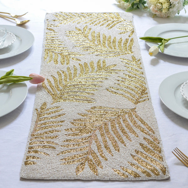 BEADS White and Gold Runner
