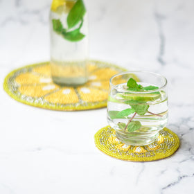 Beads Lemon Trivet Coaster Set