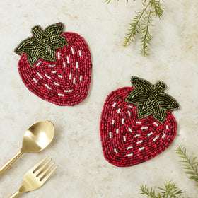 BEADS Strawberry Coaster - Red (Set of 2)