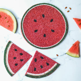 Beads Watermelon Trivet Coaster Set