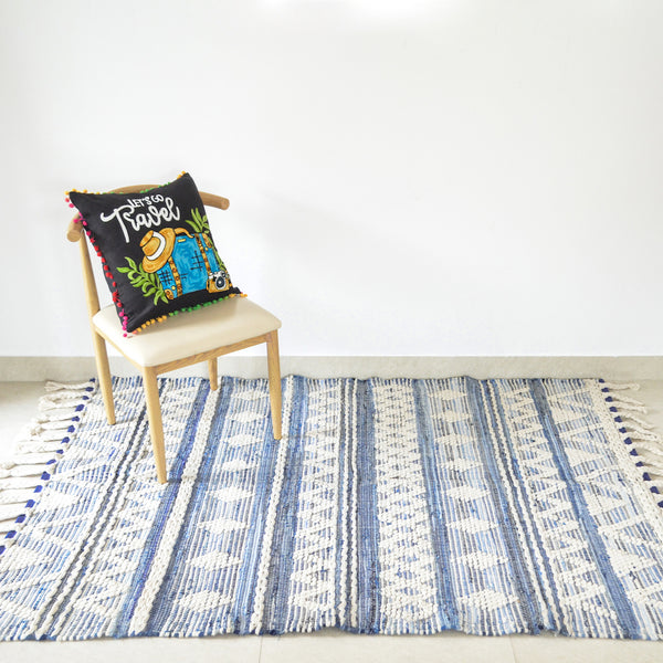BOHO Kai Handwoven Rug - Blue & Natural