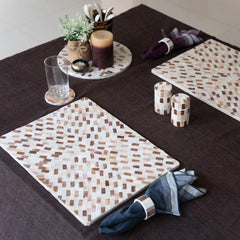 PEARL Pattern Rectangle Mat - Bronze & White