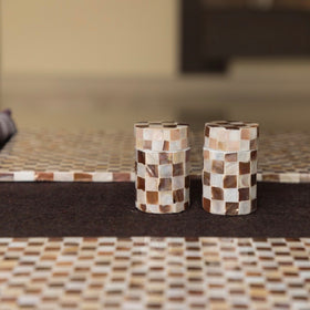 PEARL Checks Rectangle Table Mat - Bronze & White