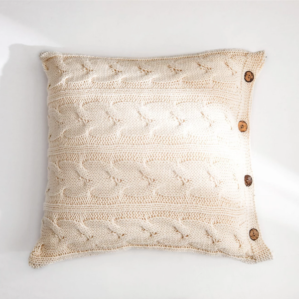 CLARA Knitted crochet Pillow with core & buttons (L) - Beige - Nestasia Home Decor