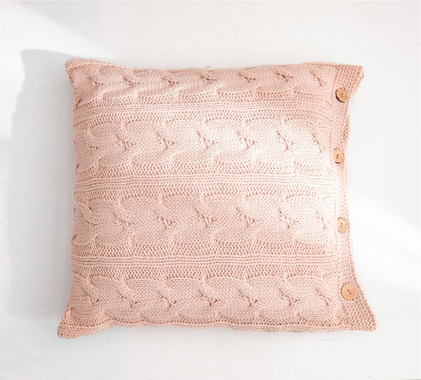 CLARA Knitted crochet Pillow with core & buttons (L) - pink - Nestasia Home Decor
