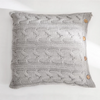 CLARA Knitted crochet Pillow with core & buttons (L) - Grey - Nestasia Home Decor