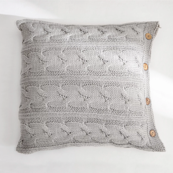 CLARA Knitted crochet Pillow with core & buttons (L) - Grey
