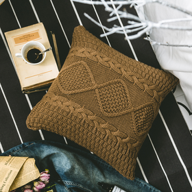 DAN Crochet Knitted Cushion - Coffee Brown