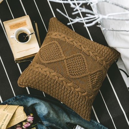 DAN crochet knitted pillow with core - Coffee brown
