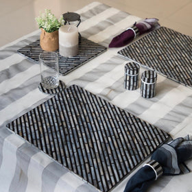 PEARL Stripe Rectangle Table Mat - Black & White